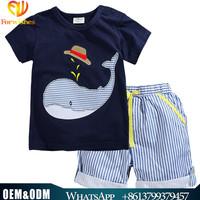 Wholesale infant toddler clothing 100% cotton short sleeve t-shirts+shorts sets boy outfits 2-7yfashion children's clothing sets