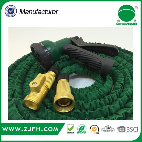 Best quality Expandable canvas garden water hose with 3 screws tap adaptor