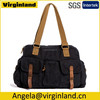 0503 Top Quality Black Vintage Canvas Short Trip Overnigh Travel Weekend Trip Bag for Men
