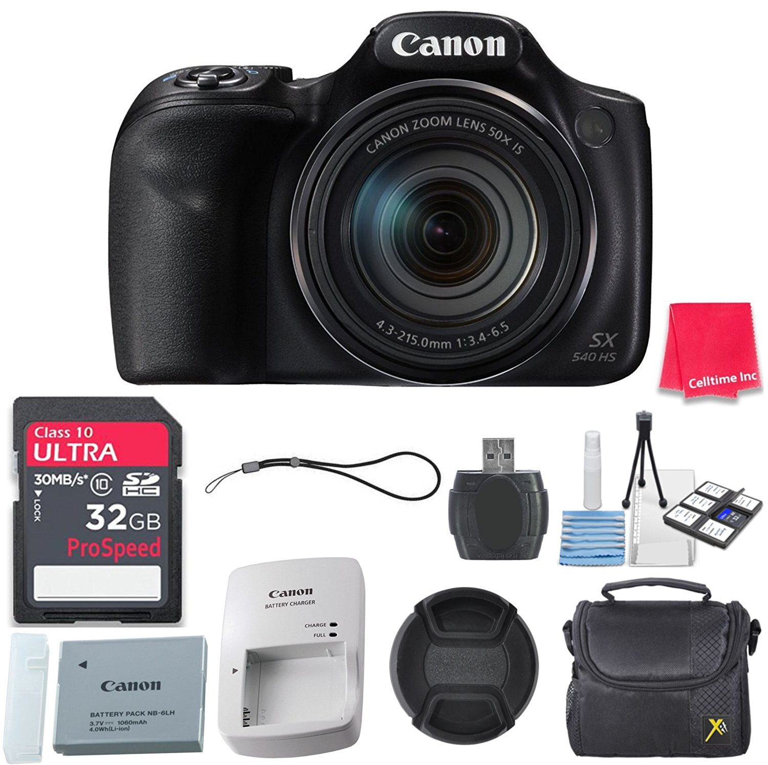 Canon PowerShot SX540 HS with 50x Optical Zoom and Built-In Wi-Fi + 32GB Ultra High Speed Memory Card + Deluxe Case + Microfiber Cleaning Cloth + Accessory Bundle - International Version (No Warranty)