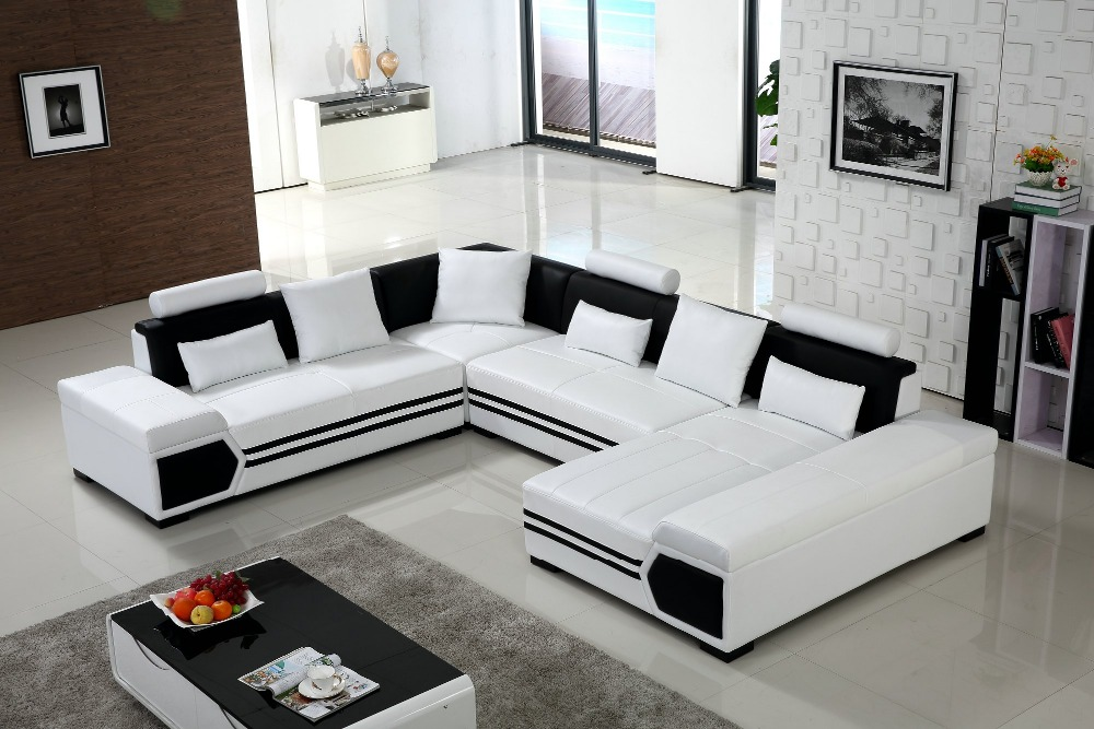 Large U shaped sofa white leather couch living room sofa
