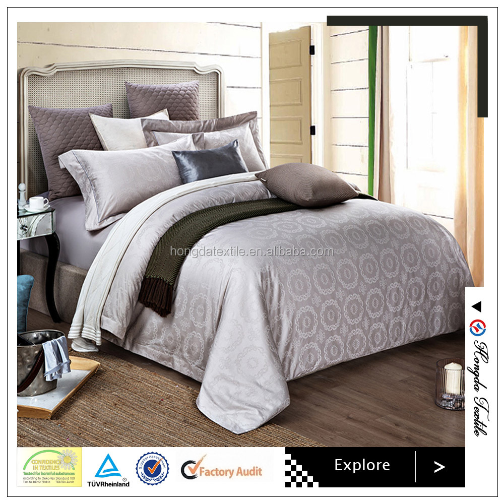 Hot sale cotton or cotton blended jacquard double square bed sheet , gray color, bedding set for hotel use