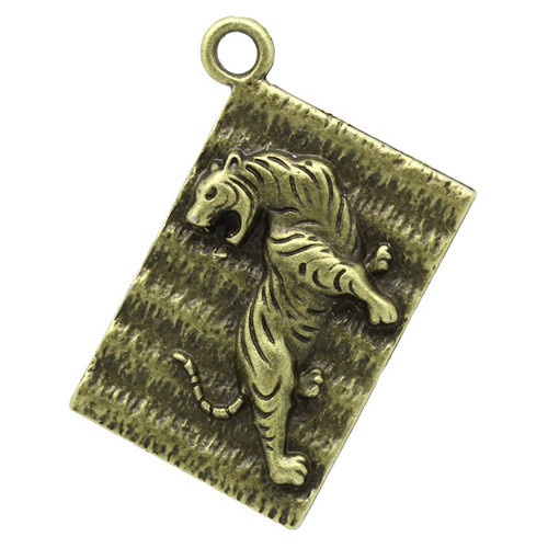 Charm Pendants Rectangle Antique Bronze Tiger Pattern Carved 3.9cmx2.9cm