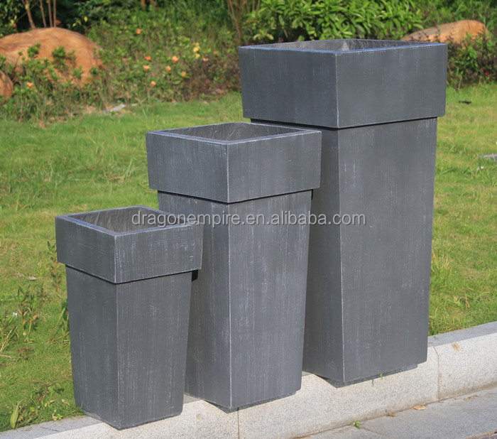 Large Size Clay Fiber Tall Square Corner Flower Planters Buy