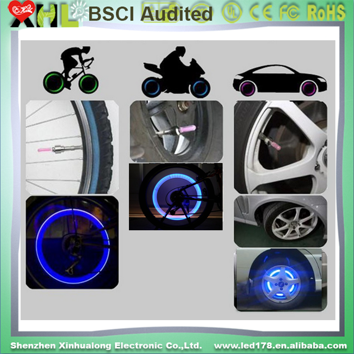 4 color led Car Bike LED Flash Tyre Light Wheel Valve Stem Cap Lamp Motorbicycle Wheel Light