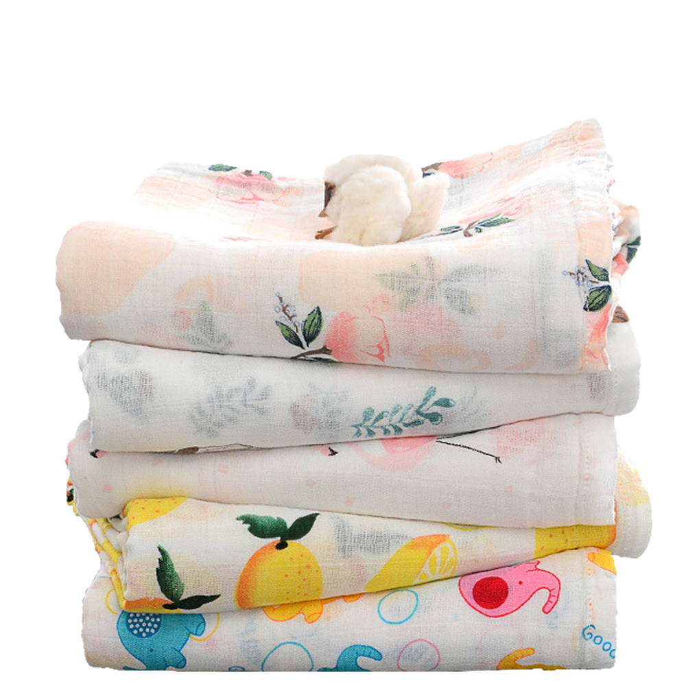 Beroyal Print Bamboo Cotton Muslin Swaddle Blanket For <strong>Baby</strong>