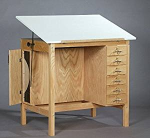 SMI F3042-HST Natural Oak Finish Art Table With 6 Drawers & Board Storage.