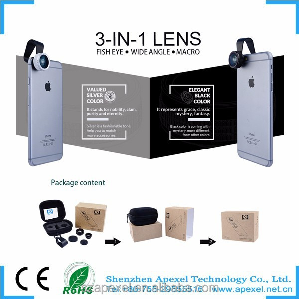 New products for teenagers smartphone innovative 3 in 1 for iphone lens kit fish eye lens/wide angle lens/macro samyang lens