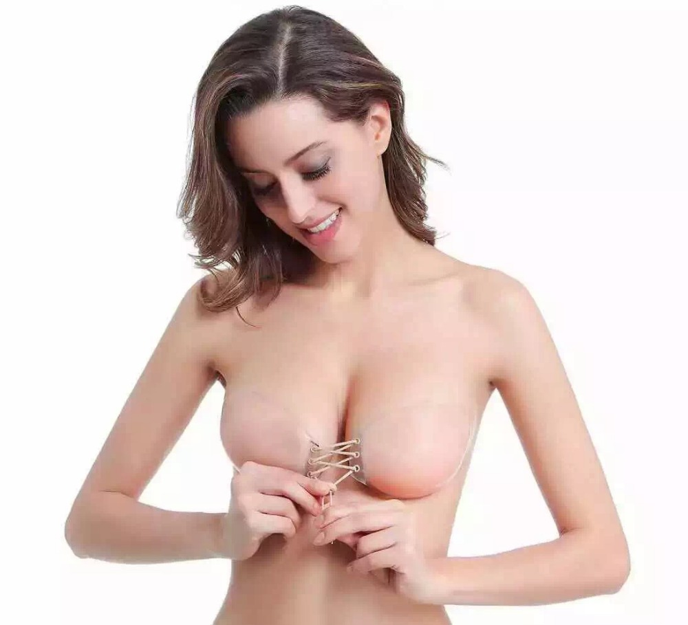 Front closure Strap Self-Adhesive Push up Silicone Bra with travel box
