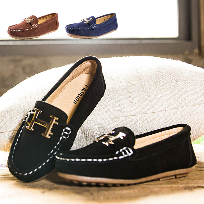 Genuine Leather Details about Boys Girls Kid Casual Soft hou Peas Leather Slip On Flat Shoes Loafer Fashion Flats