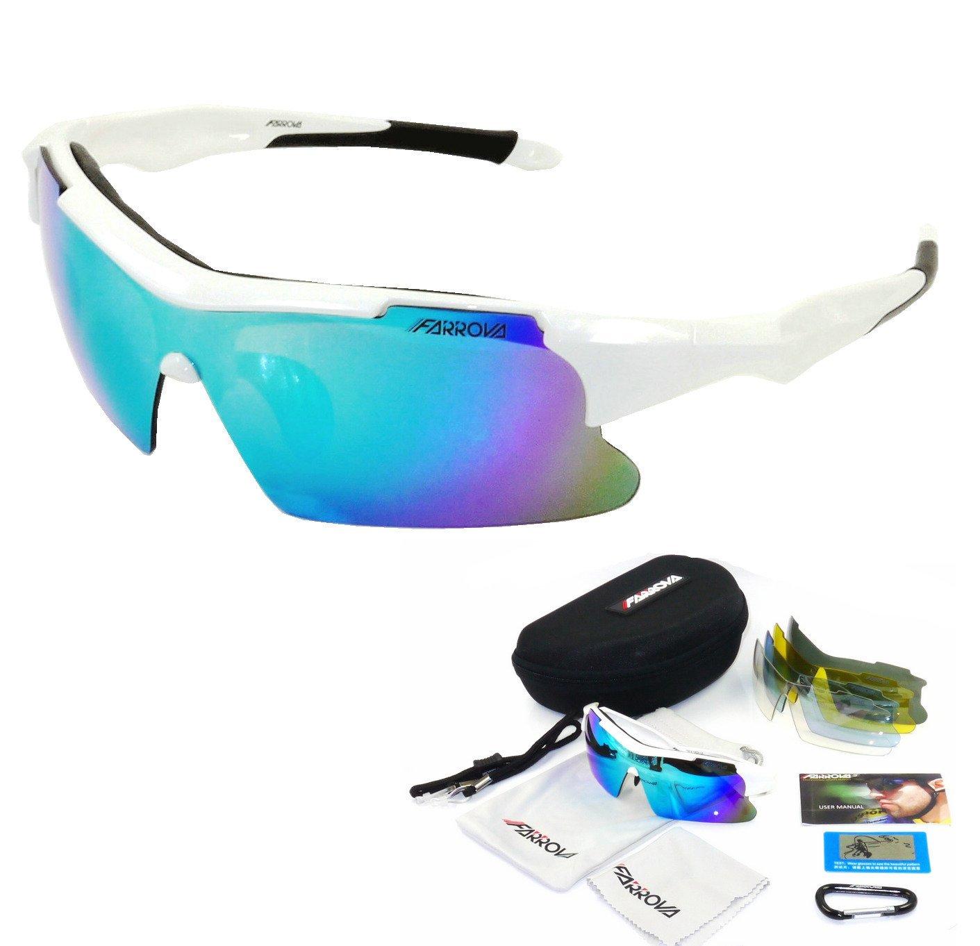acb7799719d Get Quotations · FARROVA - KD018P POLARIZED Sports Sunglasses with 5 Set  Interchangeable Lenses (Main Black Grey Lenses