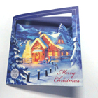 Cute funny handmade paper led light up greeting Christmas cards with button