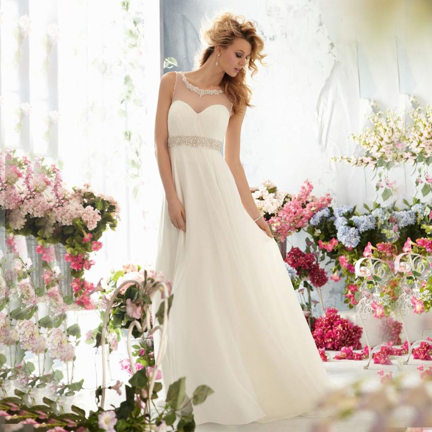 20 Elegant Simple Wedding Dresses Of 2015: Neck Beaded Flowing Chiffon Countryside Style Customized
