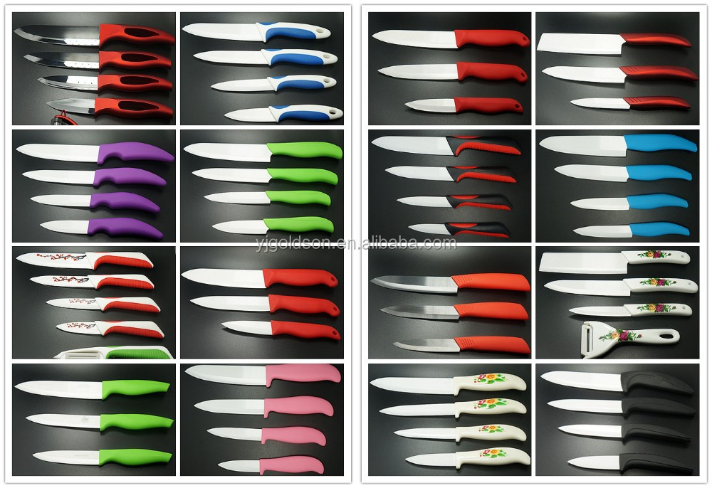 Multi-dimensional colorful ceramic+rubber ceramic kitchen knife hottest products on the market