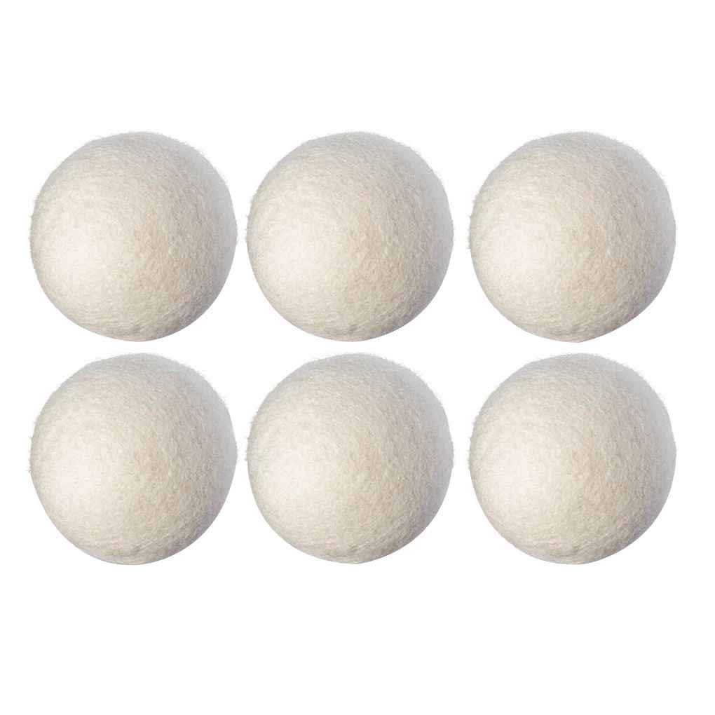 Minzhi 6PCS/set Natural Reusable Laundry Clean Ball Practical Home Wool Dryer Balls White