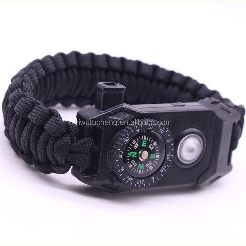 Outdoor Paracord Bracelet with LED Light Compass Whistle Flint Survival Gear Kit