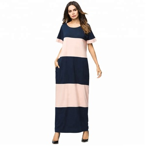 7169##Striped stitching fashion mopping Muslim women's robes vintage dress Europe and America long maxi dress summer wear