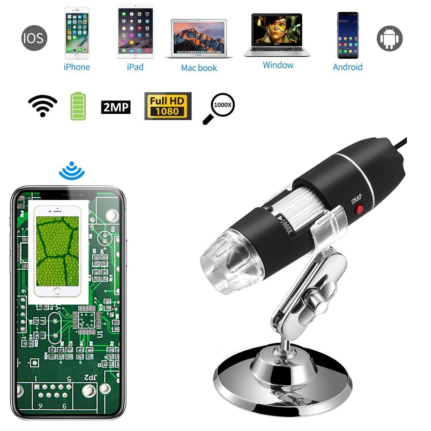 eBoTrade 1000X 8 LED 2MP USB Digital Microscope Endoscope Magnifier Camera+Lift Stand