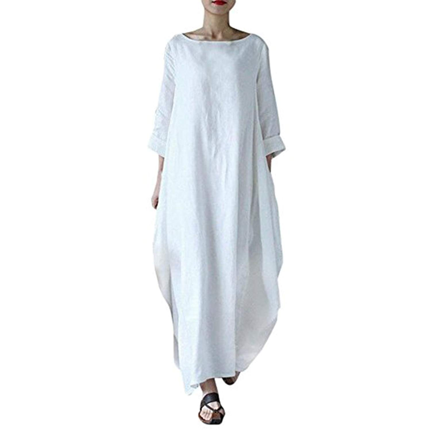 9cf9e61f697 Get Quotations · oboss Women Summer Vintage 3 4 Sleeve Cotton and Linen  Dress Plus Size Loose Kaftan