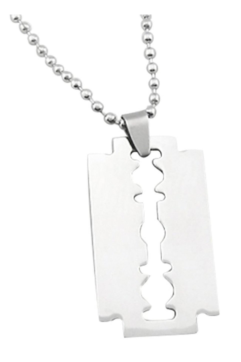 Cheap 9 saw chain blade find 9 saw chain blade deals on line at get quotations luquan mens stainless steel razor blade pendant chain necklace silver altavistaventures Images