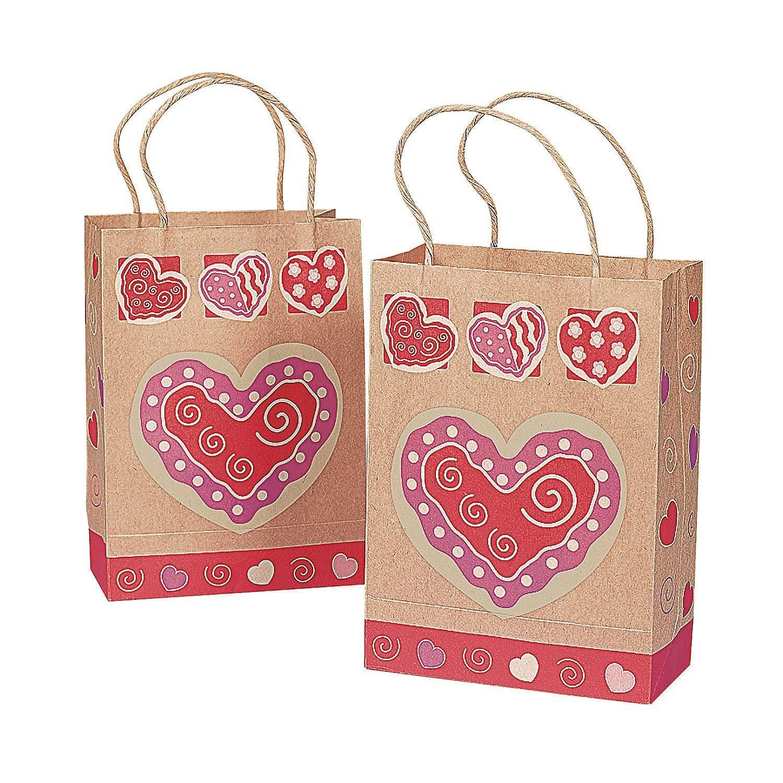 One Dozen Valentine Brown Paper Gift Bags/VALENTINE'S DAY Party Supplies/Gift Wrap/Hearts