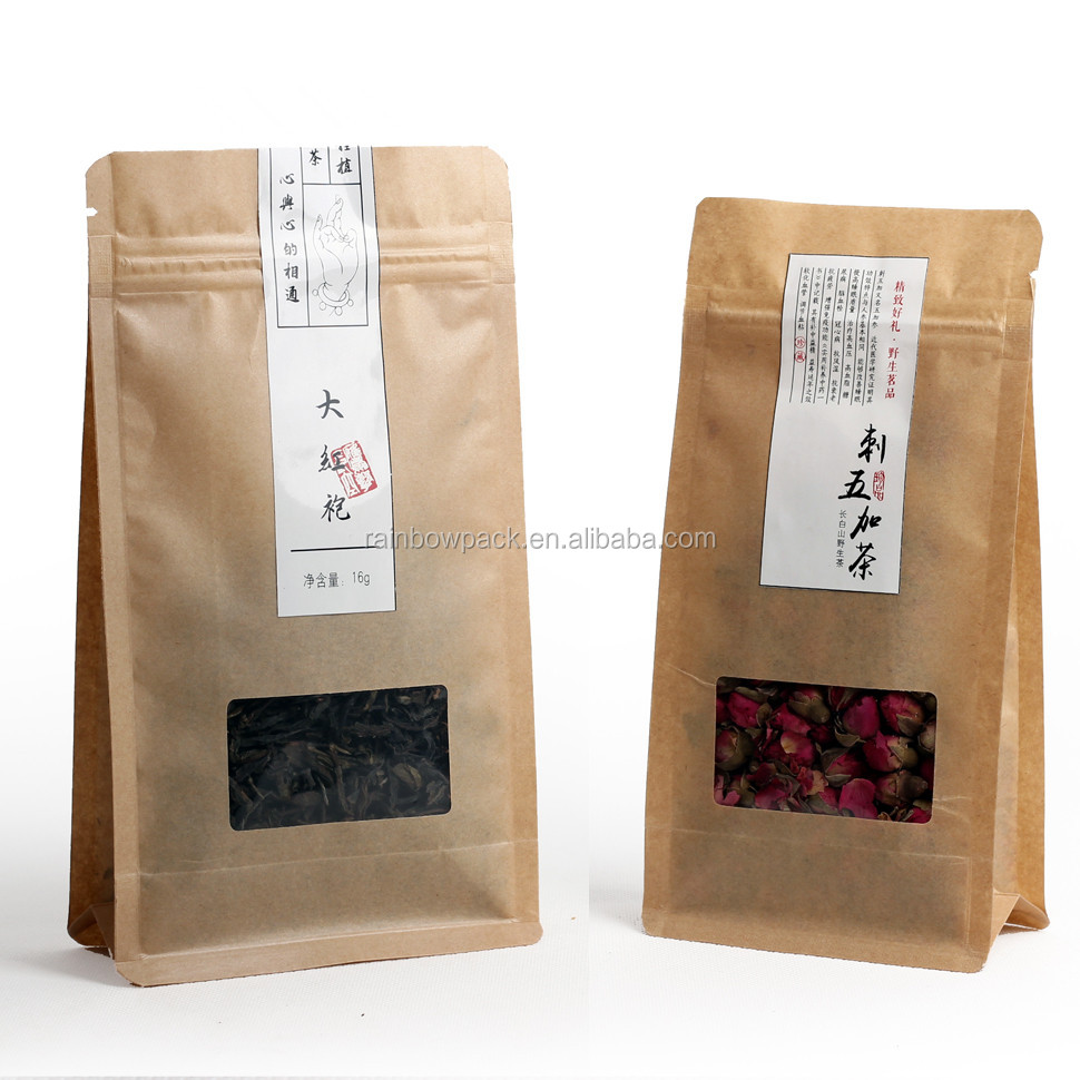 Kraft Paper Loose leaf Tea packaging suppliestea bag for gree tea/ black tea/Chai/Tisane Packaging Pouch with ziplock