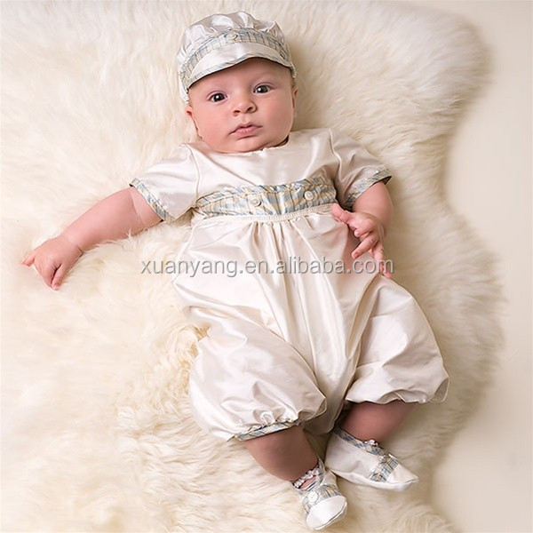 Cotton High Quality baby boy christening gown Baptism outfit