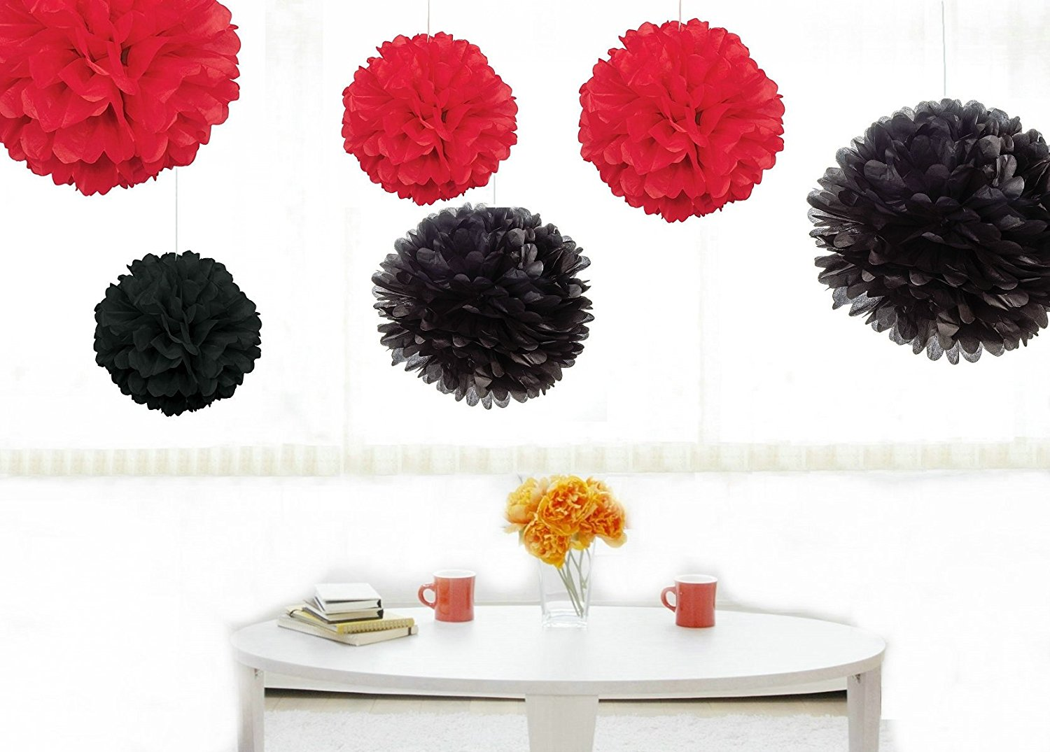 Kubert® Pom Poms - 12 pcs Tissue Paper Flowers, Black & Red ,3 Sizes,Tissue Paper Pom Poms,Best Mother's Day decoration,Wedding Decor,Party Decor,Pom Pom Flowers,Tissue Paper Pink,Tissue Paper Flowers Kit,Pom Poms Craft,Wedding Pom Poms,For Baby Shower,Pom Poms Pink,Pom Poms Decoration