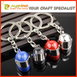Wholesale metal helmet keychains/Colorful auto dealer key chains helmet