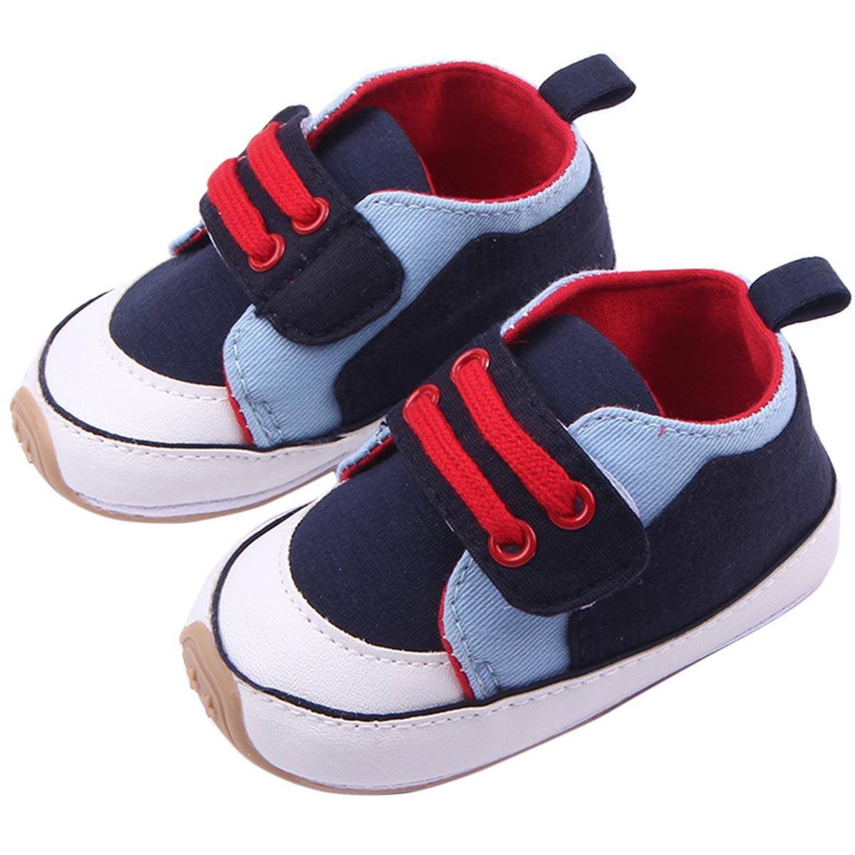 Happy Cherry Baby Boy Prewalker Infant Non-slip Fashion Sneaker Walking Shoes(Dark Blue,12cm)