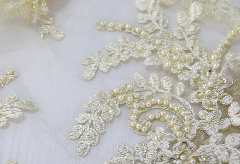 Handwork flower french bead embroidery fabric design