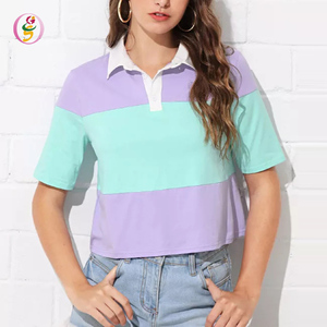 New Design Colorblock Polo Collar T-shirt Women Sexy Cut and Sew Casual Crop Top