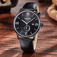 Quartz Watch MEGIR Brand Men Watches Genuine Leather Strap Calendar Military Water Resistant Wrist Watch