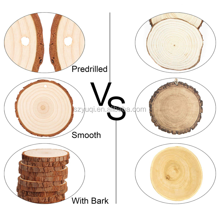 DIY Wood Craft Natural Unfinished Pine Wood Slices With Bark