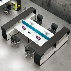 Modern Sunshine Office Furniture 4 Seats Screen Metal Frame Modular Workstation