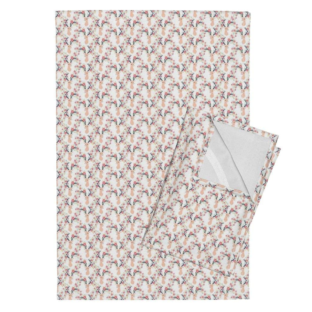 Roostery Deer Florals Floral Antlers Flower Antlers Antlers Pink Deer Doe Tea Towels Deer With Flowers Antlers by Andrea Lauren Set of 2 Linen Cotton Tea Towels