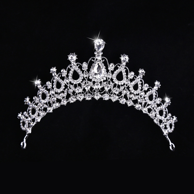 Vintage Silver Rhinestone Crystal Wedding Bridal Hair Tiara Jewelry Accessories Bride Princess Hair Crown Hair Hoop wholesale