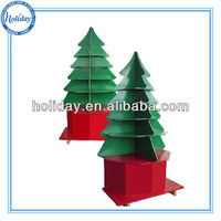 Christmas tree shape cardboard floor display/paper display rack for gifts and toys