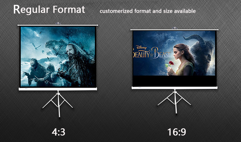 Hot Sale 120'' 16:9 Format Portable Tripod Projection/Projector Screen Indoor & Outdoor Use