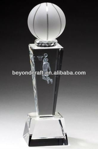 3d laser image crystal basketball trophy for NBA gifts
