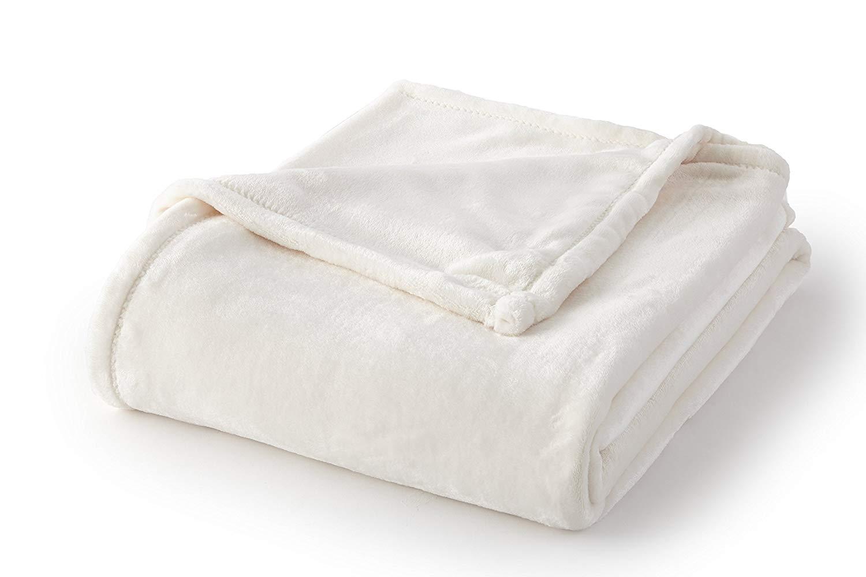 Full//Queen Cr/ème Brule Fraiche Maison Velvet Plush Solid Color Blankets