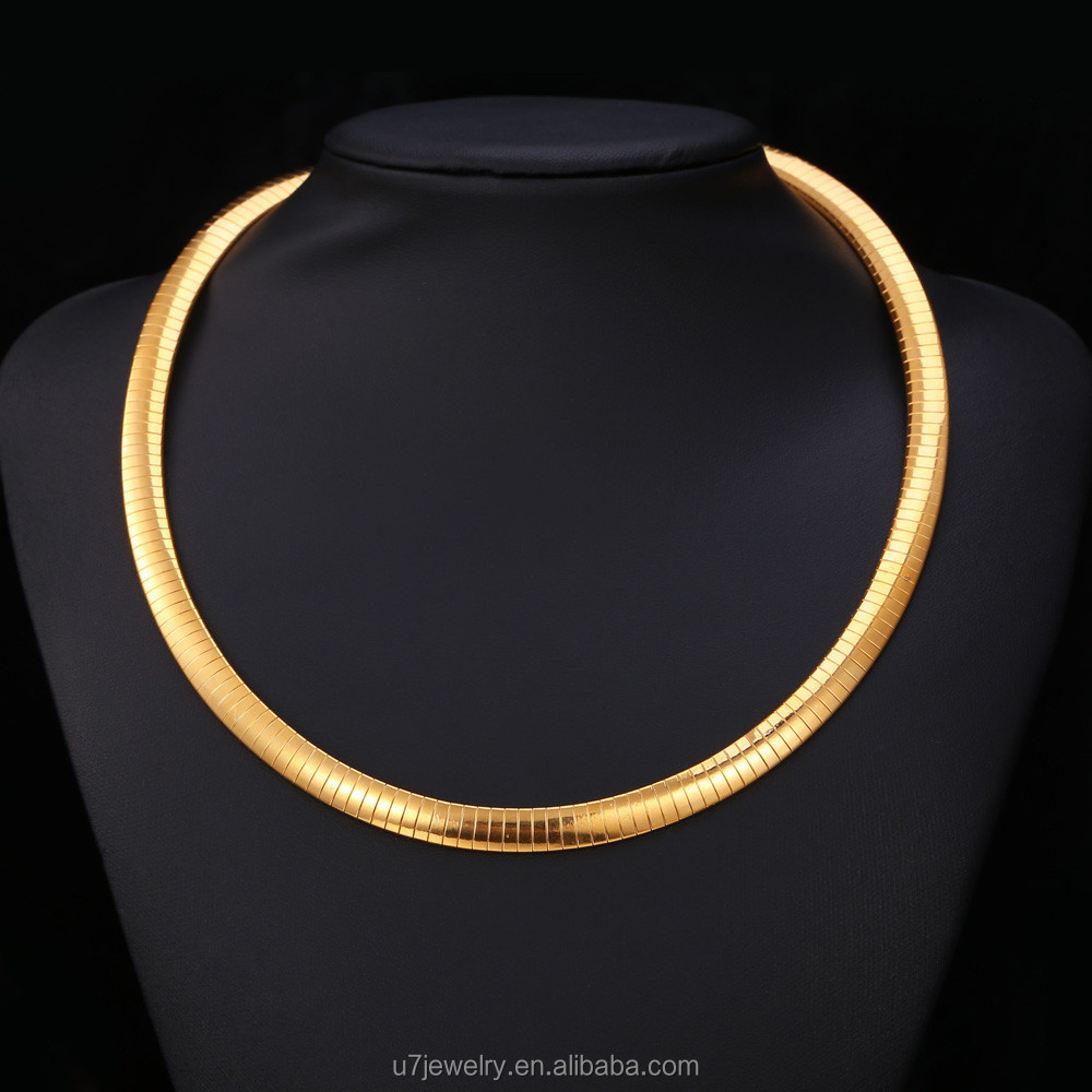 Completely new U7 Choker Necklace For Women 18k Gold Plated Snake Chain Collar  SW75