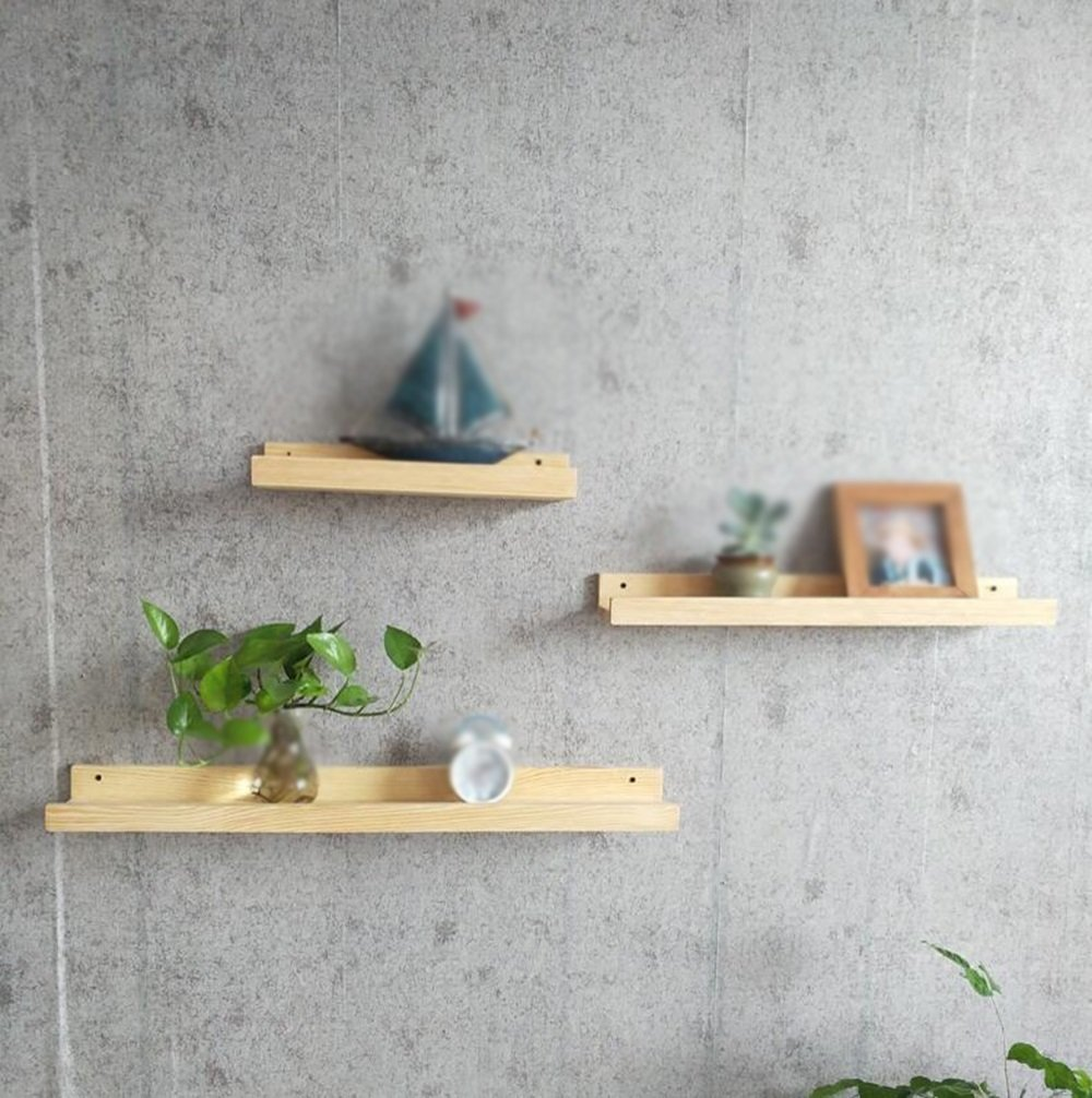 Solid wood partition wall / wall shelf / bedroom wall shelf / living room TV wall photo shelf / certificate wall shelf / three sizes /(40/60/80cm)