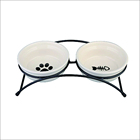 Small MOQ customized logo ceramic pet dog food feeding bowl, double ceramic pet bowl with metal rack