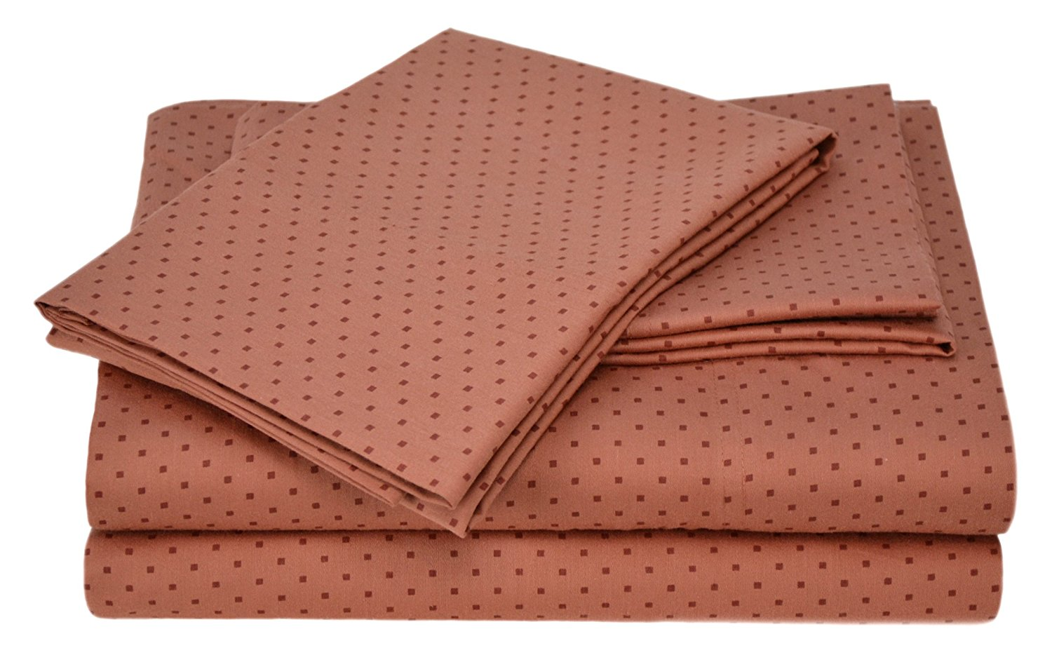 Carleton Collection 300 Thread-Count 100-Percent Cotton Sateen Printed Dot Full Size 4-Piece Sheet Set, Spice