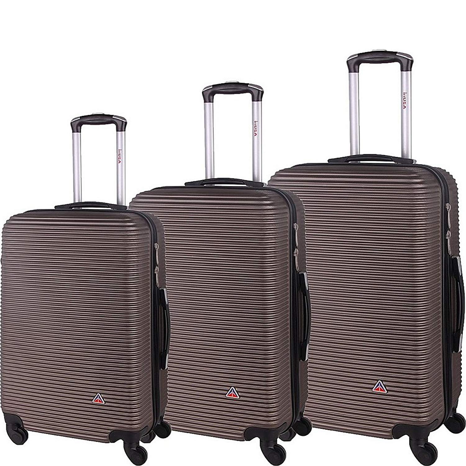 40910fef0 Get Quotations · inUSA Luggage Royal 3 Piece Lightweight Hardside Spinner  Luggage Set (Brown)