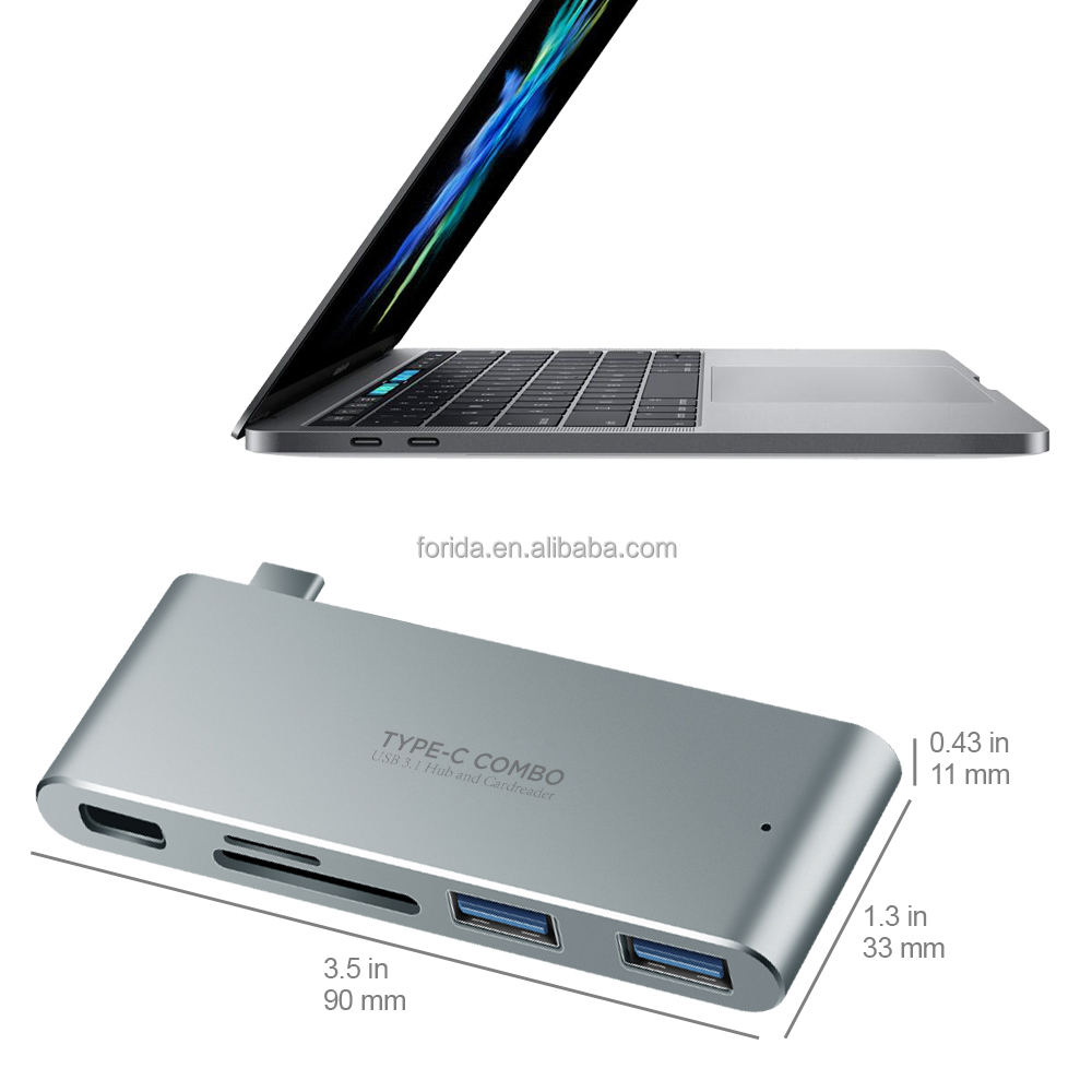 High speed Three port Usb 3.0 Usb-c Usb Type-c hub with PD charging with TF card reader for Apple laptop for Huawei p9