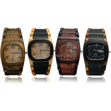 Original manufacturer Hanoson Copperplate markers Wooden watch with Rectangular case, Two tone wooden watch for couples
