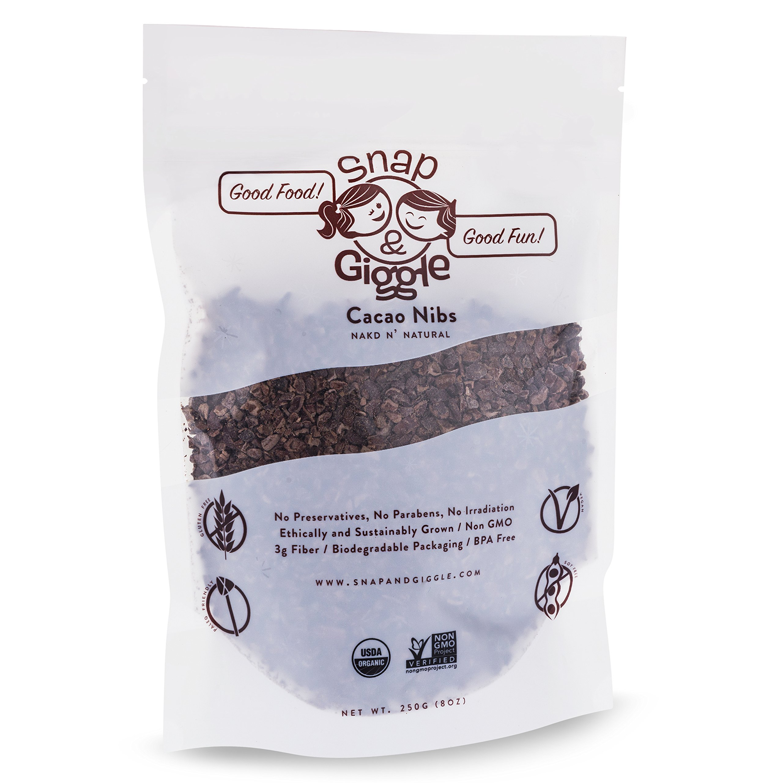 Snap & Giggle Organic Cacao Nibs, Sugar Free Low Carb Dark Chocolate Chips, Excellent for Keto, Vegan, Gluten Free Snacks, High Fiber, Magnesium, Polyphenols, NonGMO, Ethically Sourced, 250 Grams