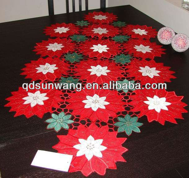 red christmas embroidered tablecloths